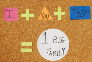 peace,union and frienship concept (I, You, Them, Big Family) on a corkboard with color notes