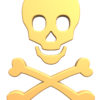 Gold skull and crossbones isolated on white.