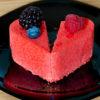 Heart shaped cake split in half